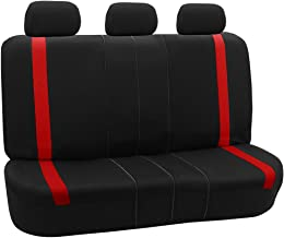 FH Group FB054013 Red Cosmopolitan Flat Cloth Seat Covers, Airbag Compatible and Split Bench, Red/Black Color - Universal Car, Truck, SUV, or Van