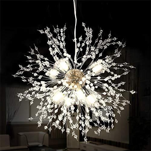 Ganeed Kamin-Kronleuchter, LED-Kristall, moderne Hängeleuchte mit 8 Leuchten, aus Stahl, Deckenleuchte, Hängelampe für Wohnzimmer, Schlafzimmer, Restaurant, Durchmesser 39,9 cm, Chrom