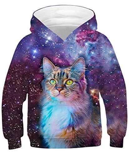 Goodstoworld 3D Galaxis Katze Kapuzenpullis Druck Hoodies Unisex Funny Kapuzenpullover Jungen Mädchen Kapuze Pullis Langarm Sweatshirt mit Taschen Galaxie-Katze L