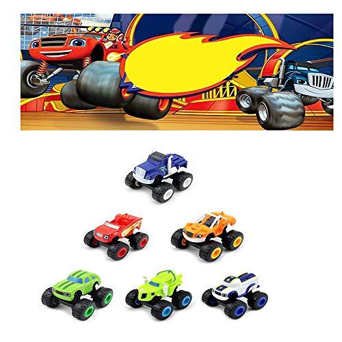 Pywee Packung mit 6 Transformatoren Blaze The Monster Machines - 6-teiliges Spielzeugset für Lastwagen