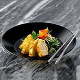 drinkstuff Midnight Lot de 6 Assiettes creuses en grès noir, 23cm, idéales pour soupes, pâtes