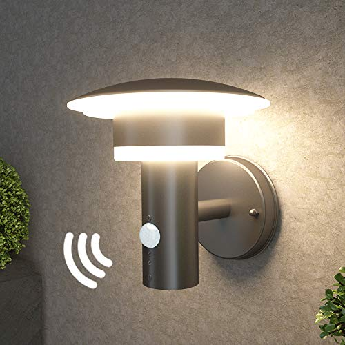 NBHANYUAN Light センサー付き LED 夜間自動点灯 ブラケットライト 玄関灯 門灯 屋外 壁面用 照明器具 洋式 現代デザイン 防水レベル=IP64 9.5W 黒色 取付簡単