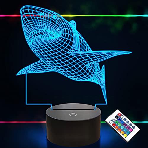3D-Illusionslampe, Shark Night Light mit Fernbedienung 16 Farbwechsel-Schreibtischlampen Kids Decor Geburtstagsgeschenke für Kleinkinder Jungen
