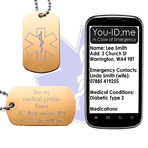 Dementia Medical Alert ID SOS Ketting Tag Goud Gegraveerd Aluminium Leger Hond Tag Sieraden Hanger Smartphone Device Medic Alert Service www.You-ID.me. Emergency Identity Talisman Optioneel SMS