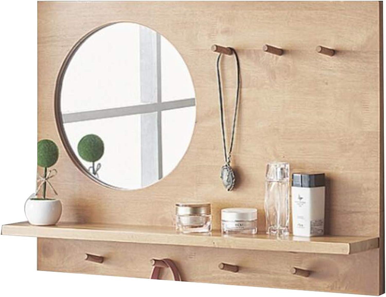 YANZHEN Mirror Wall Mirror Storage Rack Simple Modern Solid Wood Hook Multifunction Decoration Bathroom Oak, 3 colors