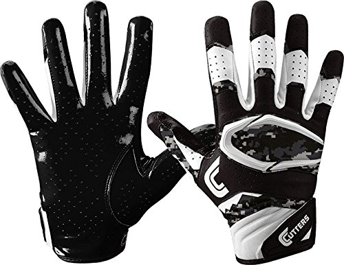 Cutters S451 Rev Pro 2.0 Receiver, Safety, Cornerback Football Gloves with Ultra Sticky C-Tack Grip Adult and Youth, Adult L, Black/CAMO
