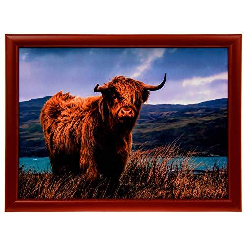 Lesser & Pavey Highland Cow Design Lap Tray - Padded Bean Bag Cushion TV Dinner LAPTRAY