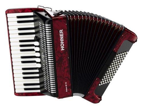 powerful Hohner Bravo Piano Accordion 72 Bass Red