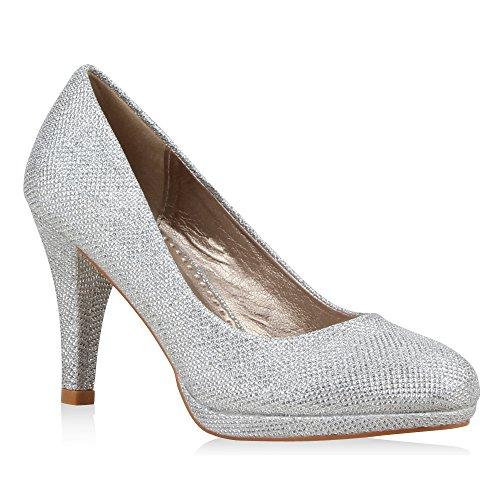 Klassische Damen Pumps Elegante High Heels Glitzer Stilettos Damen Velours Schuhe 39717 Silber 36 Flandell