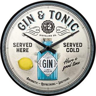 Nostalgic-Art, Retro Wanduhr, Gin & Tonic Served Here – Geschenk-Idee für Cocktail-Fans, Große Küchenuhr, Vintage-Design zur Dekoration, Durchmesser 31 cm