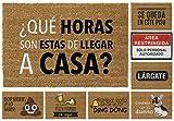 TIENDA EURASIA® Felpudos Entrada Casa Originales y Divertidos - Material : Fibra de Coco HQ con Base Antideslizante de PVC - Medidas : 40x70 cm (Que Horas Son)