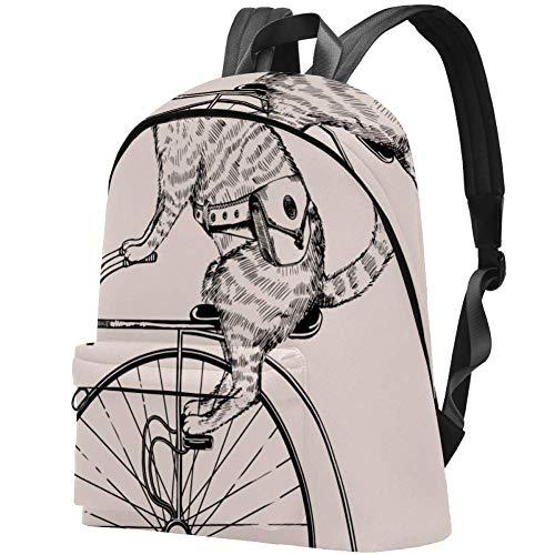 Steampunk-Katze auf Retro-Fahrrad Bag Teens Student Bookbag Leichte Umhängetaschen Reiserucksack Tägliche Rucksäcke