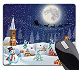 Wknoon Christmas Mouse Pad, Winter Season Snowman Xmas Tree Santa Sleigh Moon Present Boxes Snow and Stars, Rectangle Non-Slip Rubber Mousepad