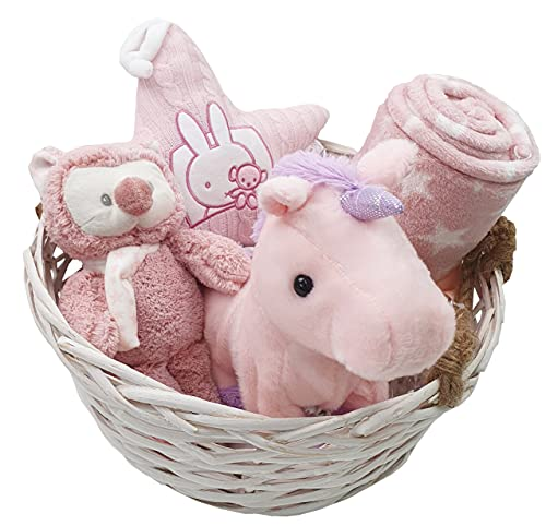 Baby Geschenkkorb pink für Mädchen Fehn Spieluhr uvm für Geburt oder Taufe