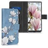 kwmobile Wallet Hülle kompatibel mit LG K51S - Hülle mit Ständer Kartenfächer Magnolien Taupe Weiß Blaugrau