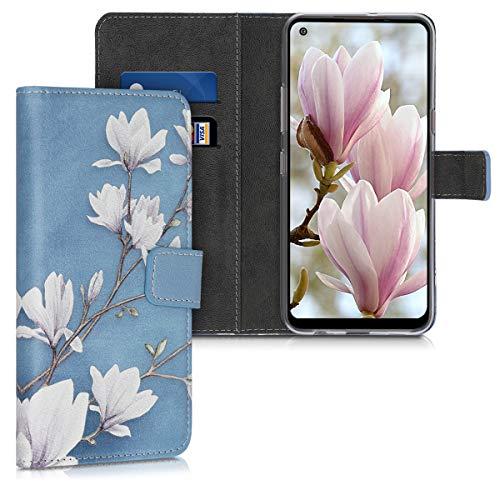 kwmobile Hülle kompatibel mit LG K51S - Kunstleder Wallet Hülle mit Kartenfächern Stand Magnolien Taupe Weiß Blaugrau