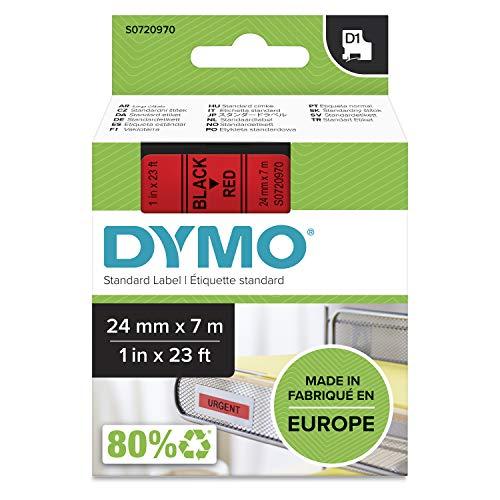 Dymo D1 Standard, Cintas para Impresoras de Etiquetas, 24 mm x 7 m, Negro sobre Rojo, Estándar Pack