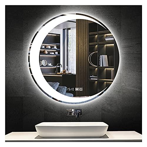 XIAOYUE Espejo de Baño LED Redondo de 60cm, Moderno Espejo De Maquillaje con Interruptor Táctil Y Antivaho, Tiempo/Temperatura Monitor