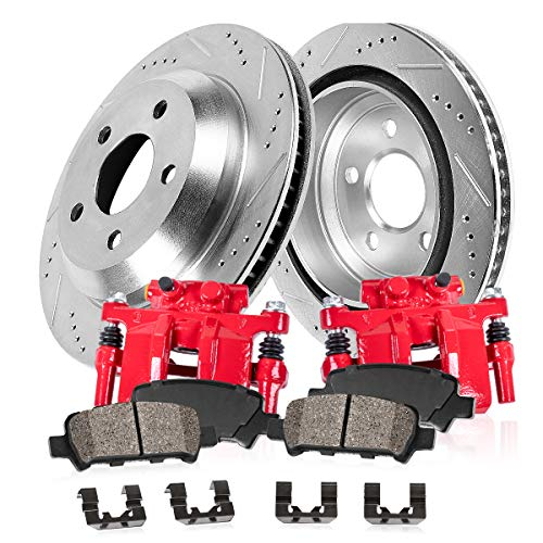 Callahan CCK02661 REAR Powder Coated Red [2] Calipers + [2] Zinc Plated Drilled/Slotted Rotors + [4] Ceramic Brake Pads