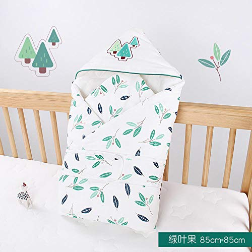 Neutral Swaddle Blanket Baby Sleeping Bag Baby Quilt, Autumn And Winter, New Cotton Newborn Bag, Warm Cartoon, Hooded@Green Leaf Fruit_85*85 Child Comfort Quilt