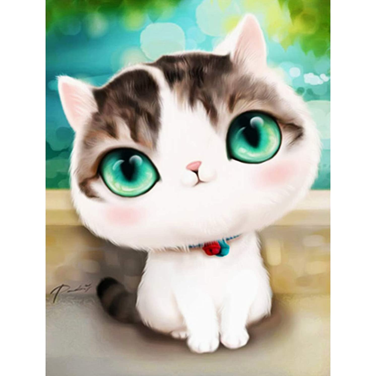 DIY 5D Diamond Painting by Number Kit, Lovely Cat Crystal Rhinestone Embroidery Cross Stitch Arts Craft Supply Canvas Wall Decor