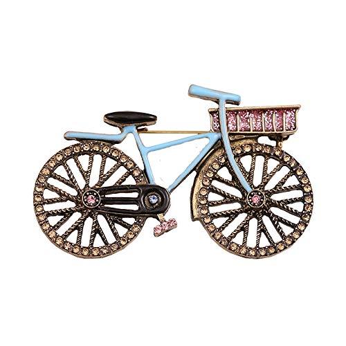 wangk Oro Antiguo Color Bicicleta Broche Pines Regalo Antiguo Rhinestone Bicicleta Insignia Traje Abrigo año Nuevo joyería Accesorios