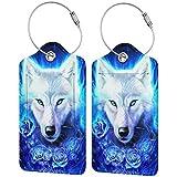 Blue Fire Wolf Personalizado Cuero De Lujo Maleta Etiqueta Set Accesorios De Viaje Etiquetas De Equipaje