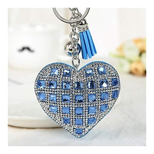 XXBY Llaveros La Cadena dominante de la Manera del corazón Femenino Completo Granos de Cristal de Clave Tapas de Cuero con Flecos Mosaico Cap Regalo de Cristal Anillo Llavero de Coche Decoraciones