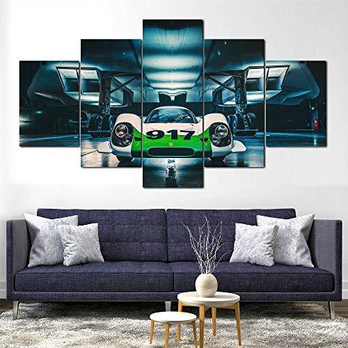 Cuadro sobre Impresión Lienzo 5 Piezas Coche deportivo Porsch 917 Concorde HD Abstracta Imágenes Modulares Sala De Estar cuadro decorativo abstracto salon dormitorio Decoración para El Hogar 150X80Cm