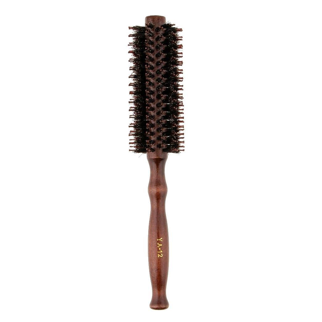 イタリアの変形する失敗Fenteer ロールブラシ ヘアブラシ 木製ハンドル 滑らか 仕上げ 速乾性 軽量 理髪 美容 カール 2タイプ選べる - #2