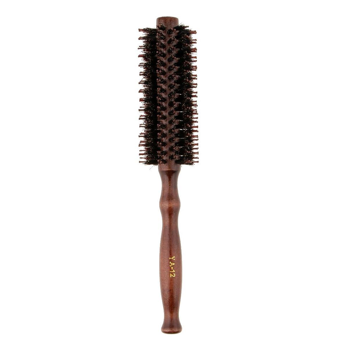 恵みドライバ滝Fenteer ロールブラシ ヘアブラシ 木製ハンドル 滑らか 仕上げ 速乾性 軽量 理髪 美容 カール 2タイプ選べる - #2