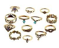 Jixin4you リング 指輪 レディース アクセサー 復古 パーティー 誕生日 プレゼント 記念品 記念日 婚約 13点セット カラー:ゴールド