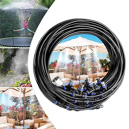 Sistema de Enfriamiento de Neblina, Kit Nebulizadores Para Terrazas con 20M Tubo de Nebulización + 20 Boquillas, Aspersor de Trampolín Sistema De Nebulizacion Para Exteriore Jardin Pergola Invernadero