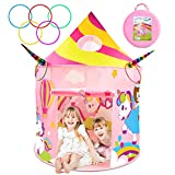 Unicorn Toys for 2 Year Old Girls, Princess Tent with Unicorn Ring Toss Game, Kids Castle Play Tent...