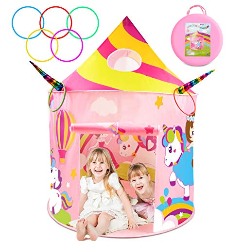 Unicorn Toys for 2 Year Old Girls, Princess Tent with Unicorn Ring Toss Game, Kids Castle Play Tent for Girls, Indoor Pop up Playhouse Set Gifts for Kids Birthday Party Favors Toddlers Age 1-3 3-5 4-7