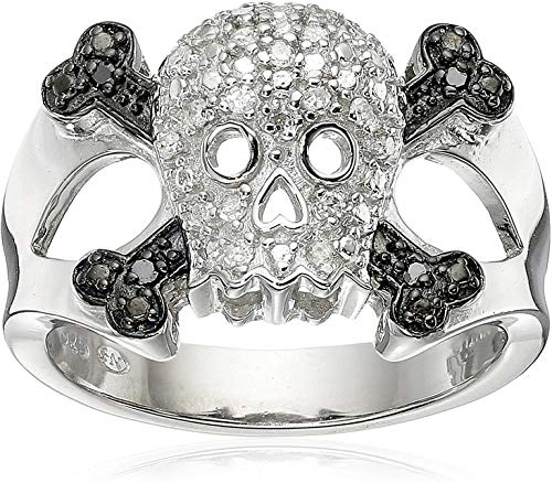 .925 Sterling Silver 1/10 Cttw Black & White Diamond Skull and Crossbones Men's or Ladies' Ring (I-J Color, I2-I3 Clarity) - Size 7