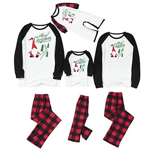 Family Parent-Child Matching Pajamas Cute Merry Christmas Shirt Top and Elastic Plaid Trousers 2 Pcs Sleepwear Set (Plaid Kids, 4-5T)