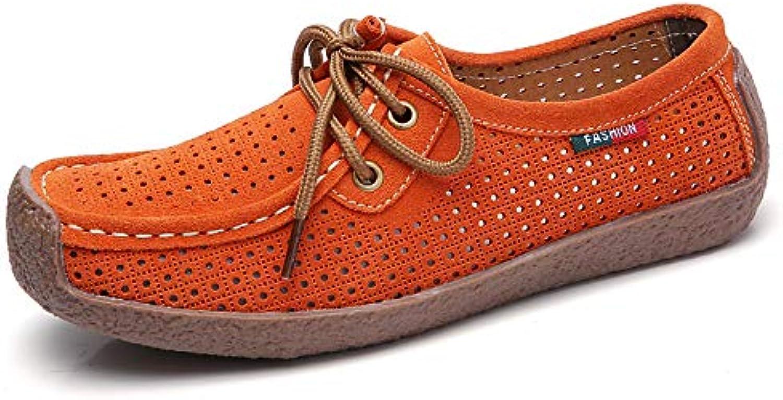 ZZNVX Woherrar skor mocka Springa och Summer Comfort  Mocasin skor Flat Heel Coffee  röd   blå