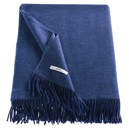 ESPRIT Melange Sofadecke dunkelblau • weiche Kuscheldecke • Tagesdecke 150x200 cm • Leicht zu pflegene Couchdecke • 100prozent Polyacryl