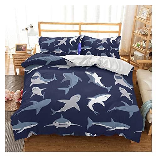 Shark Fish Print Kids Duvet Cover Set Twin Bedding Cover Set Boys Girls Duvet Comforter Cover Set Luxury Soft Twin Duvet Cover Set for Children Teens