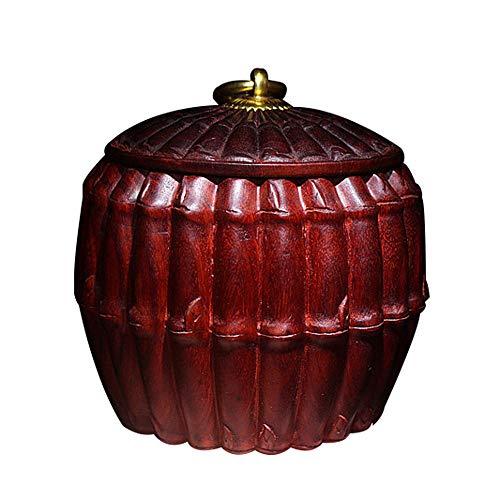 LINGS Urne funéraire en Bois, urne funéraire, pour Cendres d'hommes et d'animaux de Compagnie, en Bois de Rose, jusqu'à 35 LB, Design en Bambou créatif.