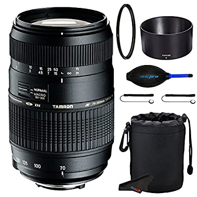 Tamron Auto Focus 70-300mm f/4.0-5.6 Di LD Macro Zoom Lens for Canon Digital SLR Cameras + Pixi-Accessory Bundle by Pixibytes