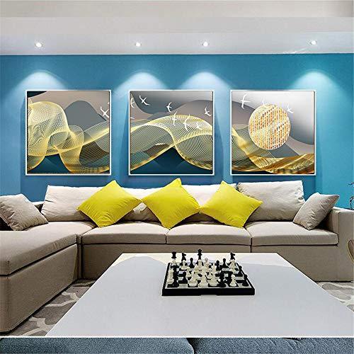 WSNDG Eenvoudige moderne lichte woonkamer slaapkamer gouden abstracte klasse achtergrond muurschildering triptiek decoratieve schilderij zonder fotolijst 50 * 50cm(No frame) A3