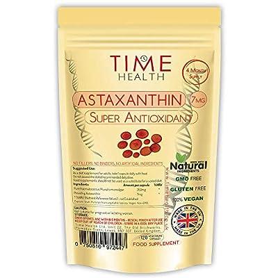 Astaxanthin - 7mg - Optimal Dose - Super Antioxidant - 100% Pure Natural Bioavailable - UK Manufactured - Zero Additives (120 Capsule Bottle)