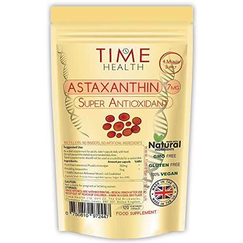 Astaxanthin - Haematococcus Pluvialis - 7 mg - Optimale Dosis - Super-Antioxidans - 100{75ccc7b5ba97c69456706004a0ad17b9554c7a611b4d8bfcf1d4de94427a10ec} rein, natürlich bioverfügbar 4-Monatsvorrat - 100{75ccc7b5ba97c69456706004a0ad17b9554c7a611b4d8bfcf1d4de94427a10ec} Natürlich (120 Kapseln pro Beutel)