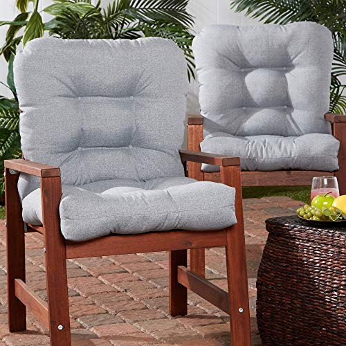 MISC Gray 21-inch X 42-inch Outdoor Chair Cushion (Set of 2) Grey Solid Casual Transitional Polyester Fade Resistant Reversible Water