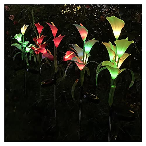 Solar Lights Outdoor - New Upgraded Solar Garden Lights, Multi-Color with 5 Lily Flower Solar Flower Lights for Patio,Yard Decoration, Bigger Flower and Wider Solar Panel (Purple)