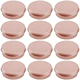 Hulless 0.5 Ounce Aluminum Tin Jar Refillable Containers 15 ml Aluminum Screw Lid Round Tin Container Bottle for Cosmetic ,Lip Balm, Cream, 12 Pcs Rose Gold