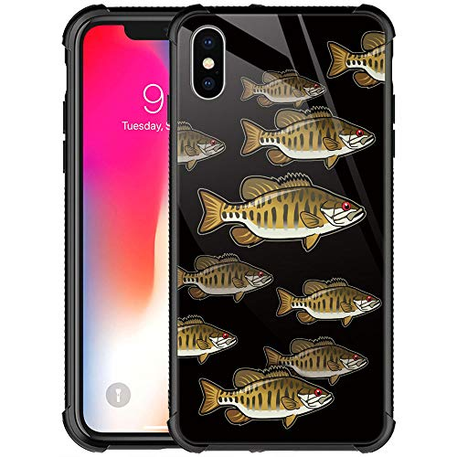 CARLOCA iPhone XR Case,iPhone XR Cases for Men Boys,Bass Fishing Smallmouth School Pattern Design Shockproof Anti-Scratch Case for Apple iPhone XR 6.1-inch