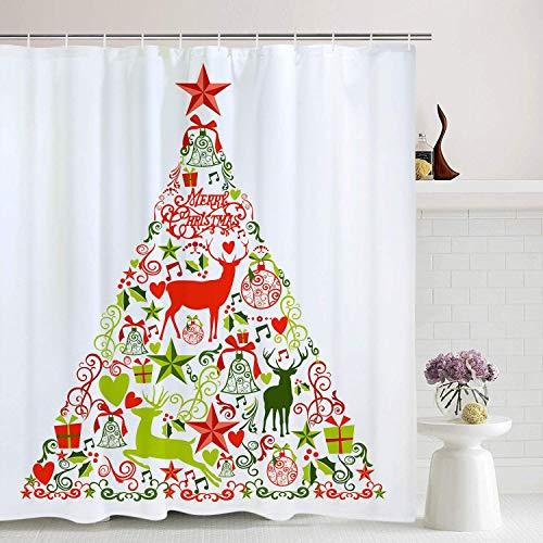 /N Christmas Shower Curtain Christmas Decorations Collection Bathroom Curtain Christmas Decoration and Star Tree Topper Bathroom Decor